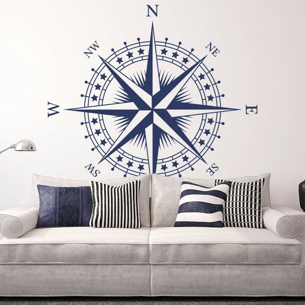 compass rose with stars vinyl wall or ceiling decal nautical room sticker k625 ebay. Black Bedroom Furniture Sets. Home Design Ideas