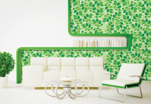 Green leaves look contact paper wallpaper self adhesive for Home wallpaper ebay