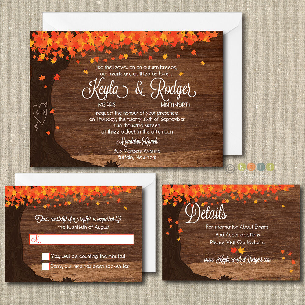 100 Personalized Fall Autumn Leaves Wedding Invitations