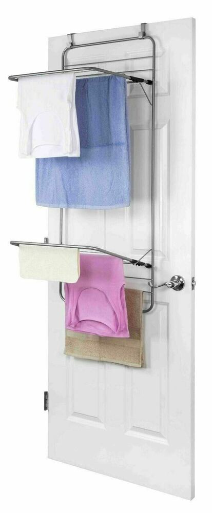 sunbeam new over the door folding double drying towel dryer rack cd44540 ebay. Black Bedroom Furniture Sets. Home Design Ideas