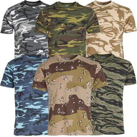 img-Mens Short Sleeved Camouflage T Shirt 100% Cotton US Army Military Combat