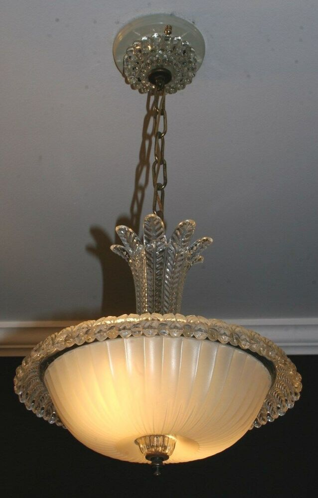 Antique cream glass art deco light fixture ceiling for Art deco porch light
