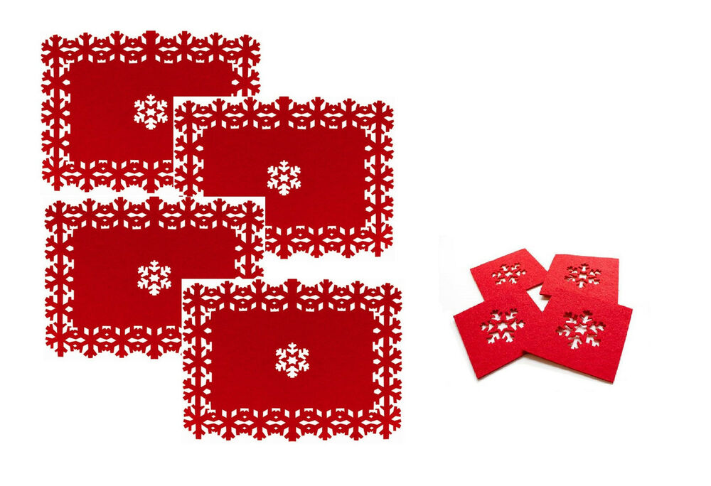 Beautiful Christmas Placemats Amp Coasters Set Snowflake