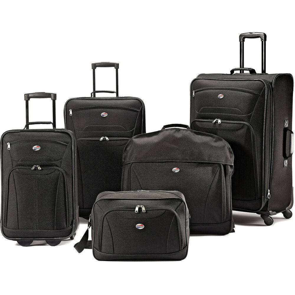 american tourister 5 piece luggage set ebay. Black Bedroom Furniture Sets. Home Design Ideas