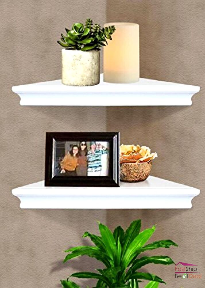 Floating corner wall shelf white home decor furniture for Decoration shelf