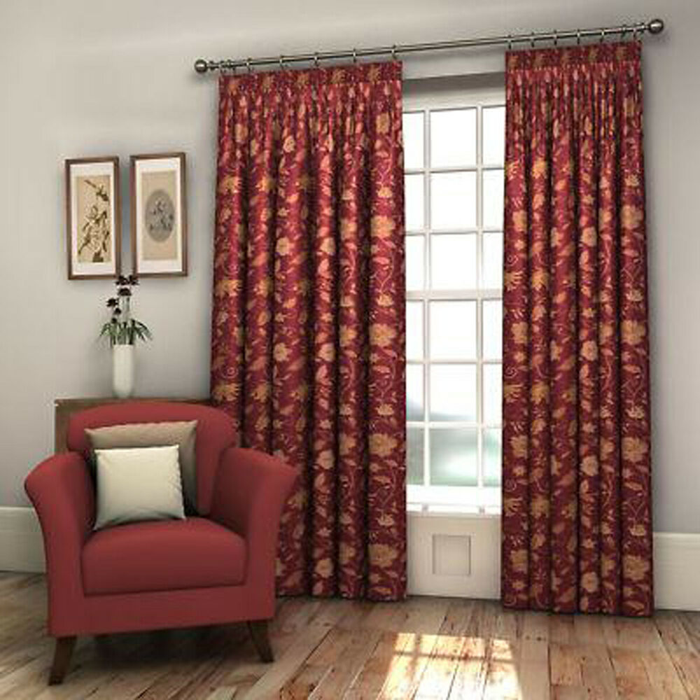 Pair burgundy red fully lined floral woven jacquard for Red and gold drapes