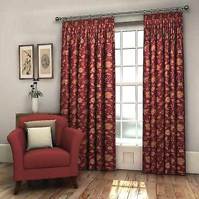 Pair Burgundy Red Fully Lined Floral Woven Jacquard