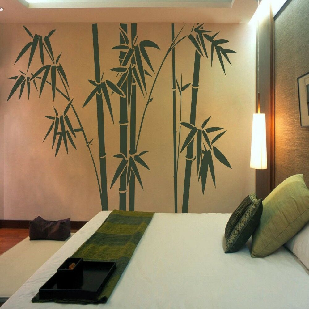 Bamboo tree wall decal inspiration vinyl living room for Design wall mural