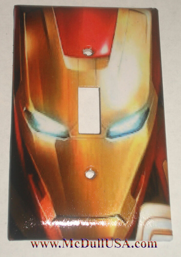 iron man face light switch duplex outlet cover plate more home decor ebay. Black Bedroom Furniture Sets. Home Design Ideas