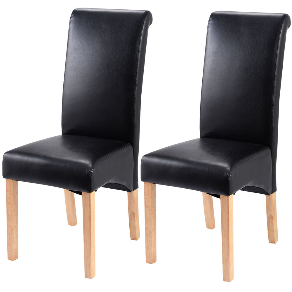 Set of 2 leather wood contemporary dining chairs elegant for Black dining room chairs