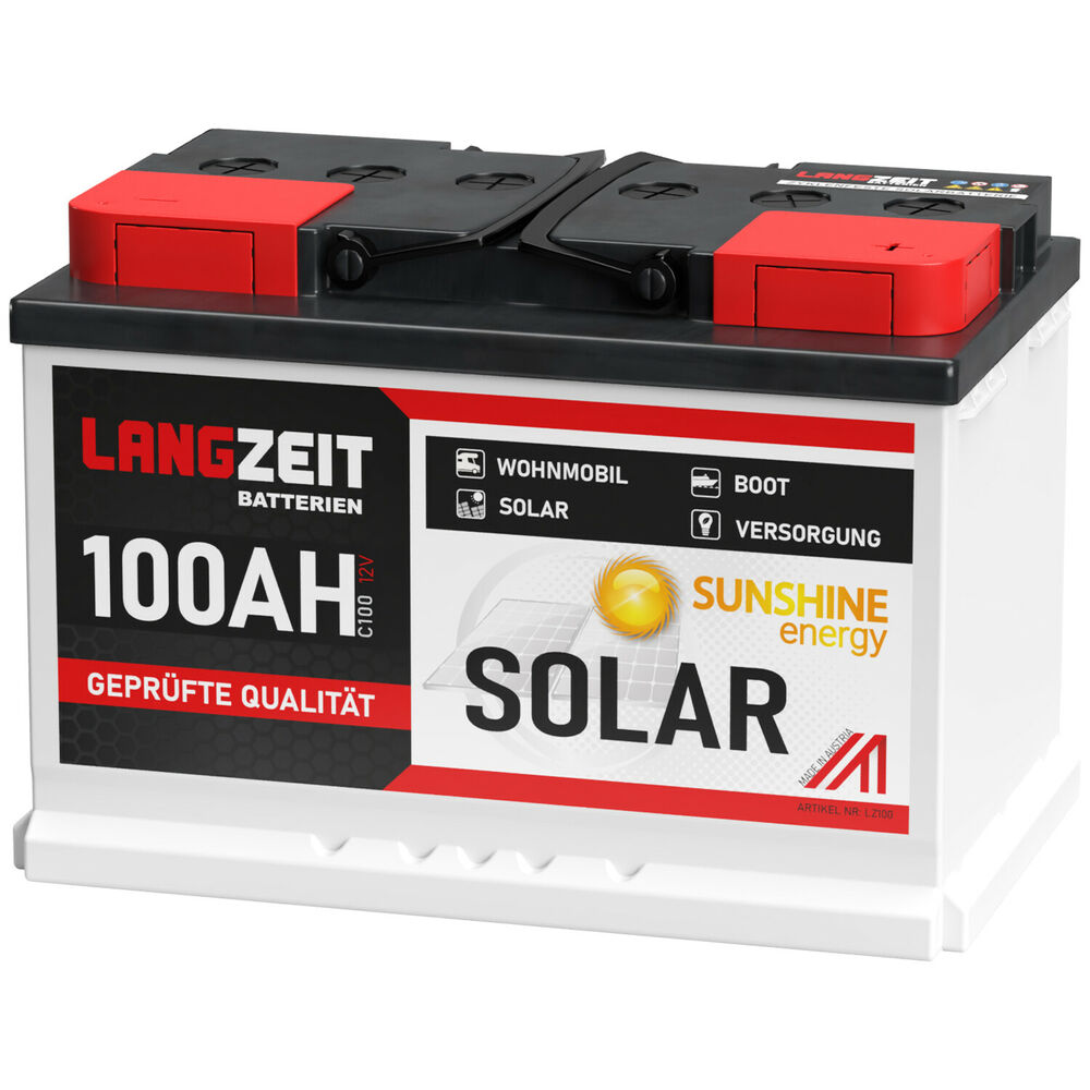 solarbatterie 100ah 12v usv wohnmobil boot wohnwagen camping schiff batterie ebay. Black Bedroom Furniture Sets. Home Design Ideas