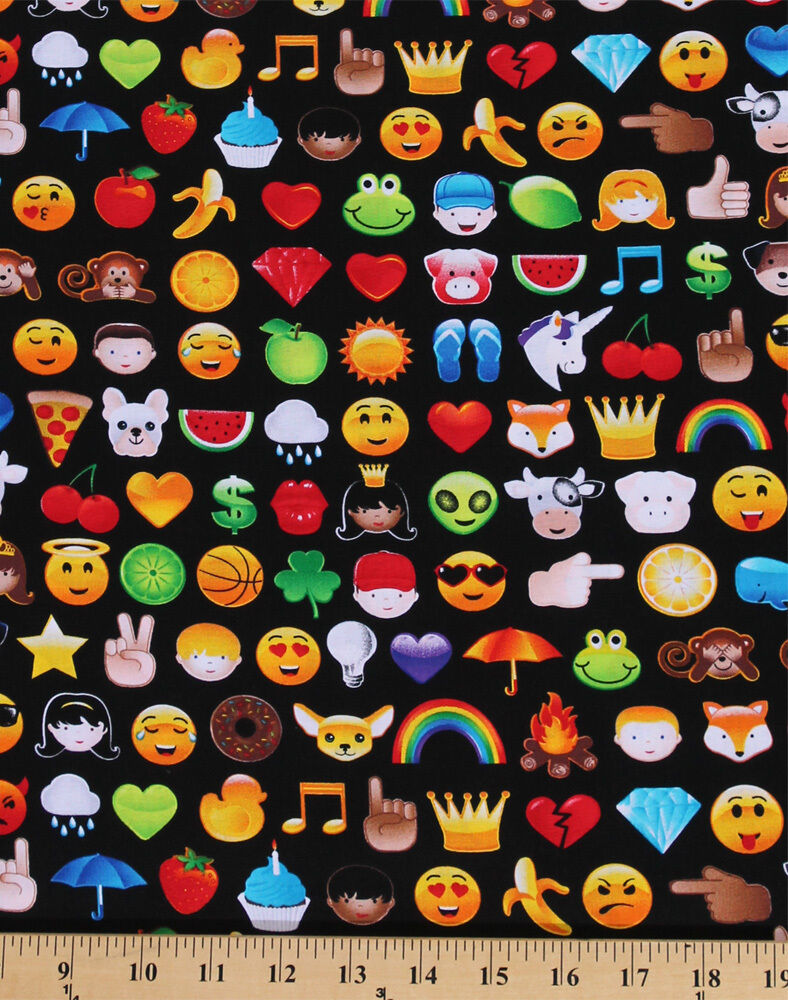 Cotton emoji smiley faces hearts monkey fruit cotton for Emoji fabric