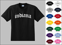 State of Indiana Old English Font Vintage Style Letters T-shirt