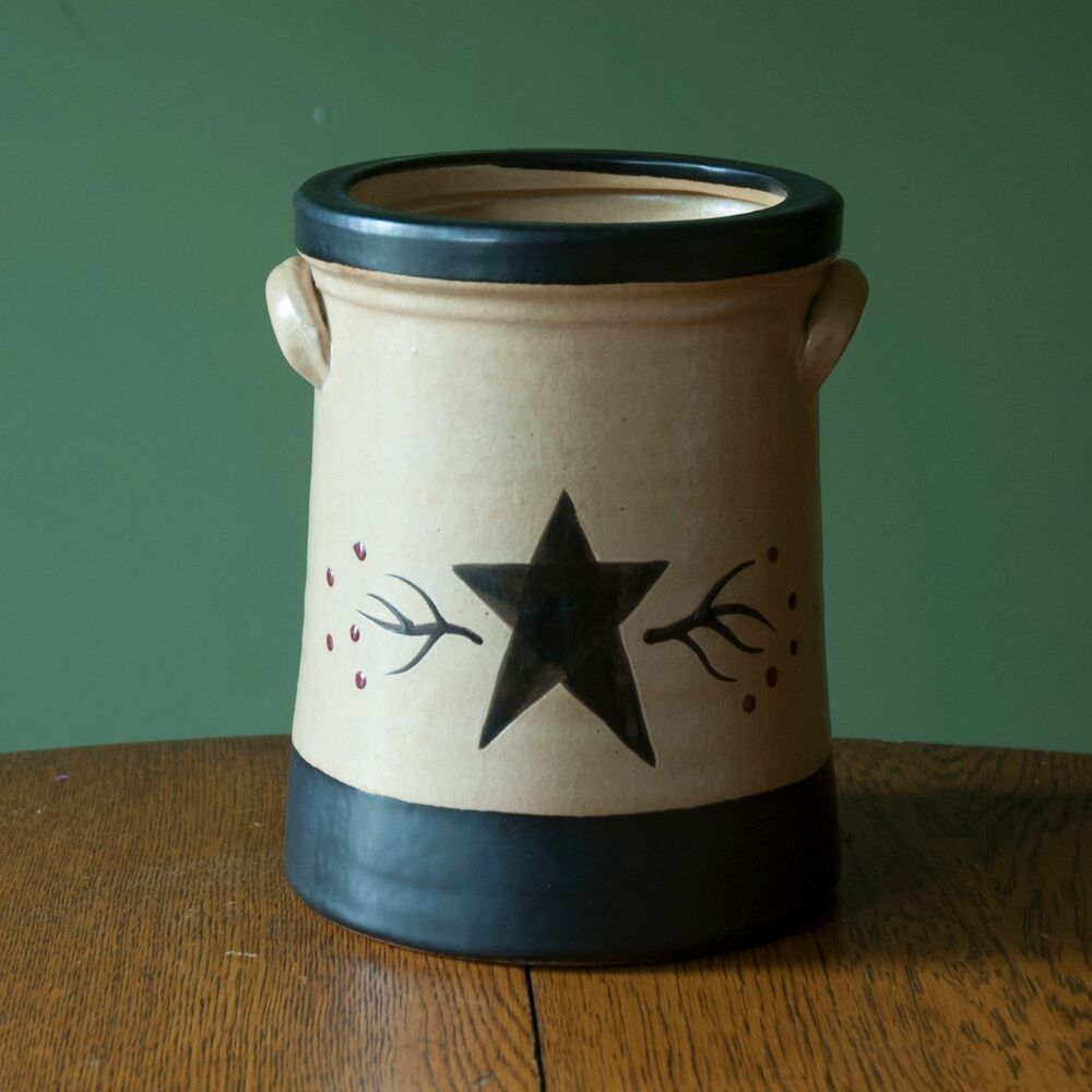 ceramic and berry canister crock utensil holder