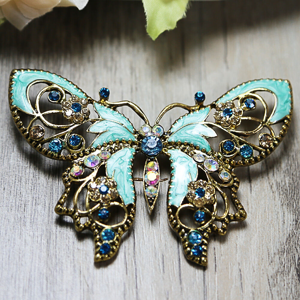 Vintage style blue butterfly wedding bridal rhinestone for Rhinestone jewels for crafts