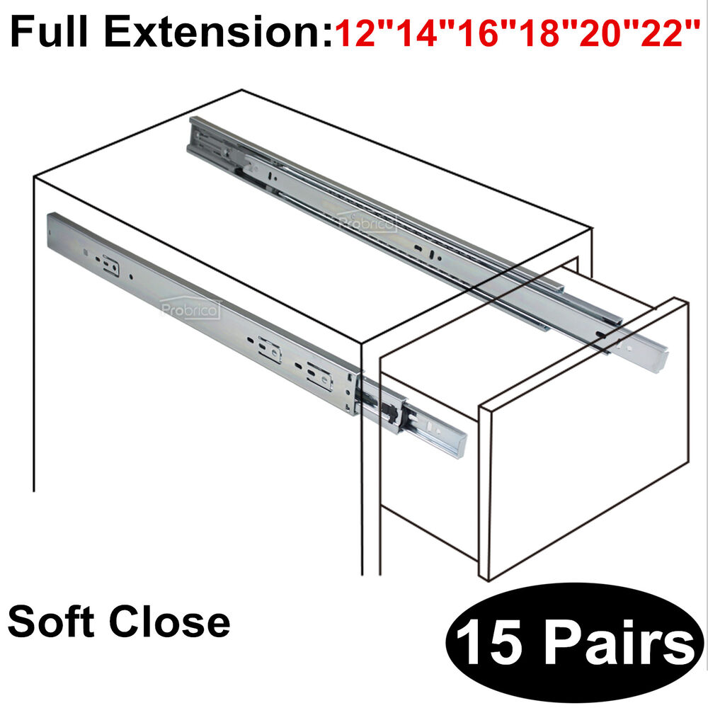 15pairs 12 22 Quot Soft Close Drawer Slides Glides Side Mount