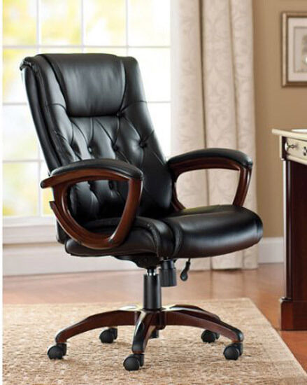 Leather High Back Tufted Office Chair Executive Reception