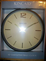 """Kincaid 12"""" Executive Wall Clock w/ Gold Embossed Digits & Hands"""