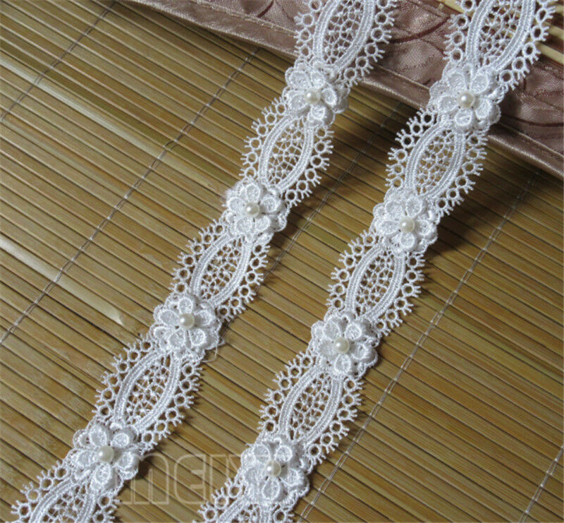 3yd vintage flower pearl lace edge trim wedding bridal for Pearl arts and crafts closing