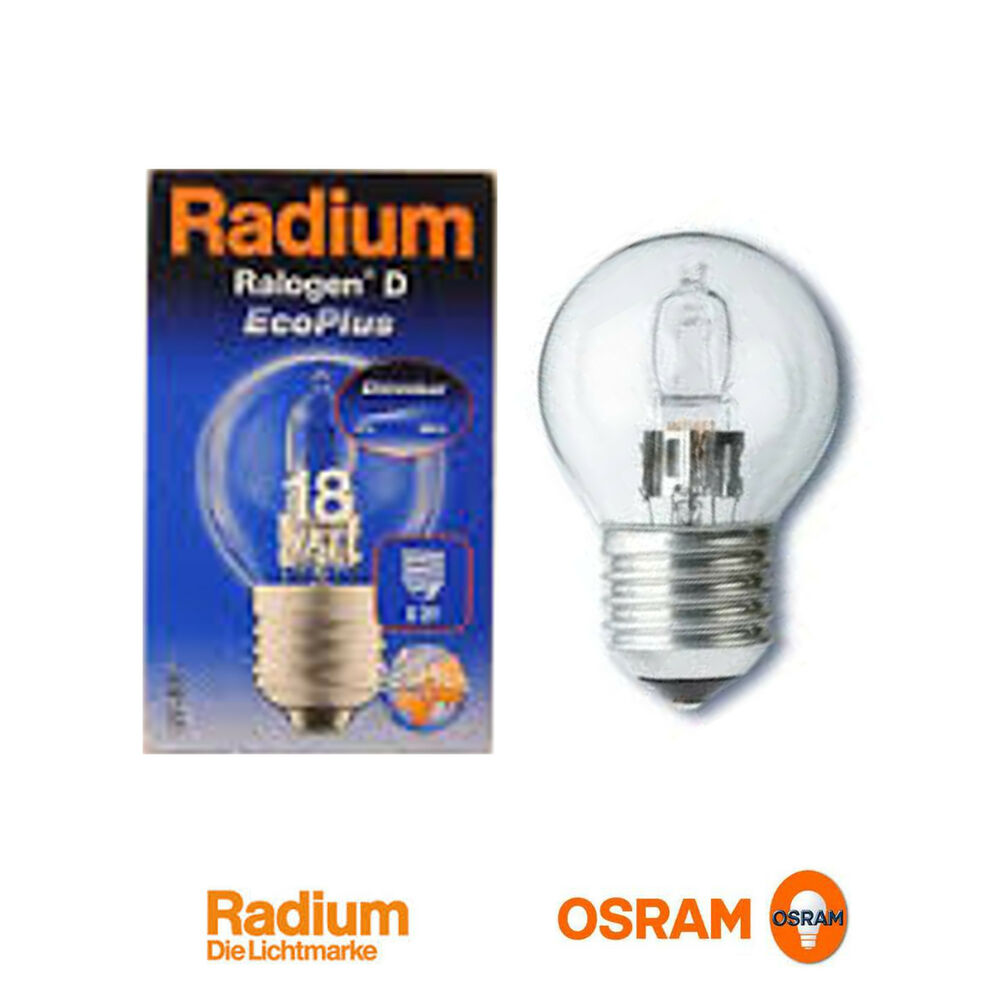 5x osram radium halogen gl hlampe lampe halogenlampe 18w e27 gl hbirne ebay. Black Bedroom Furniture Sets. Home Design Ideas