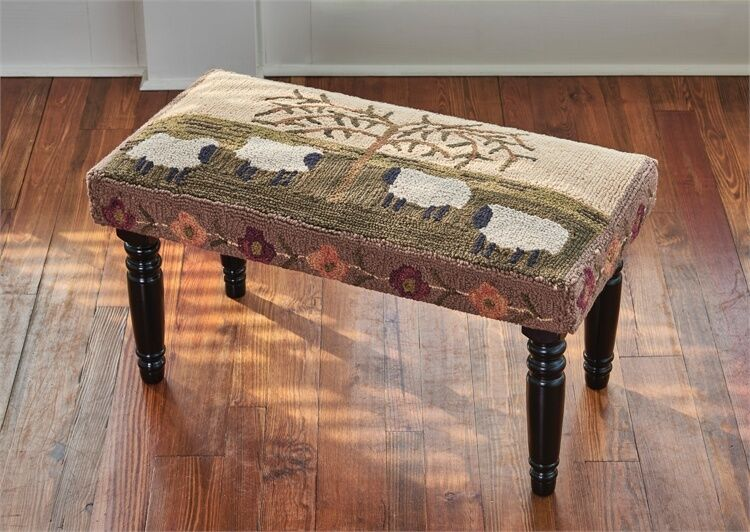 Primitive Country Willow Sheep Hooked Decorative Bench By Park Designs Ebay