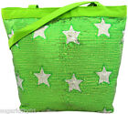 PERSONALIZED Bag Tote Purse Gymnastics Dance Lime Sequin & Stars Free Ship