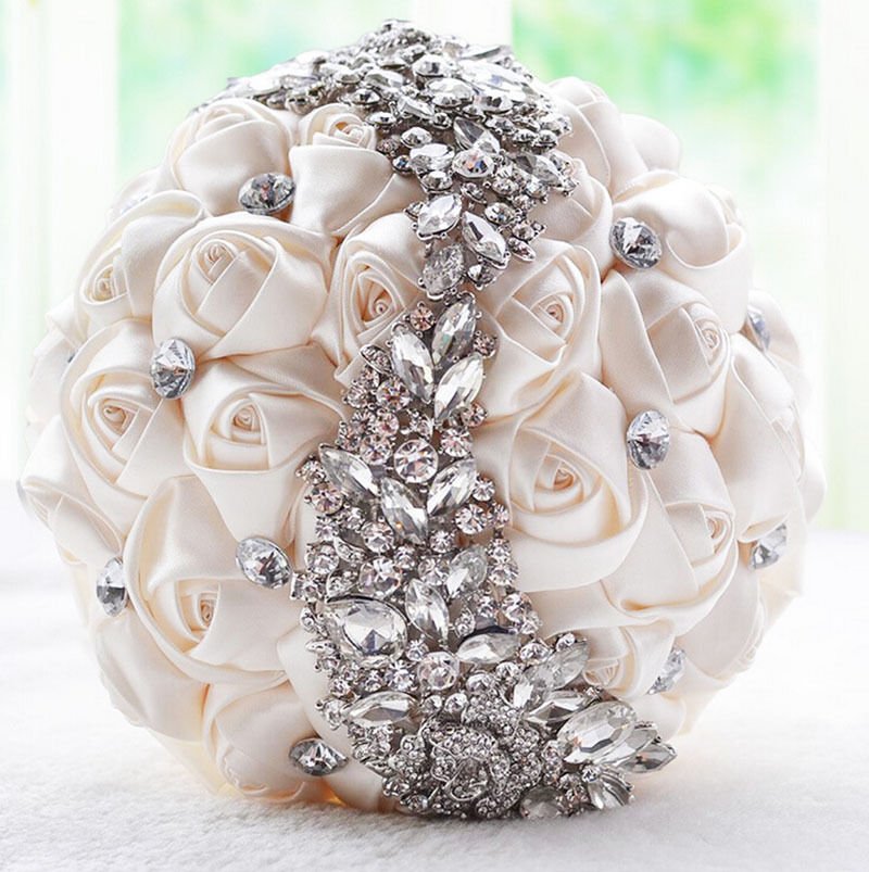 Handmade Luxury Silk Rose Flower Rhinestone Brooch Wedding
