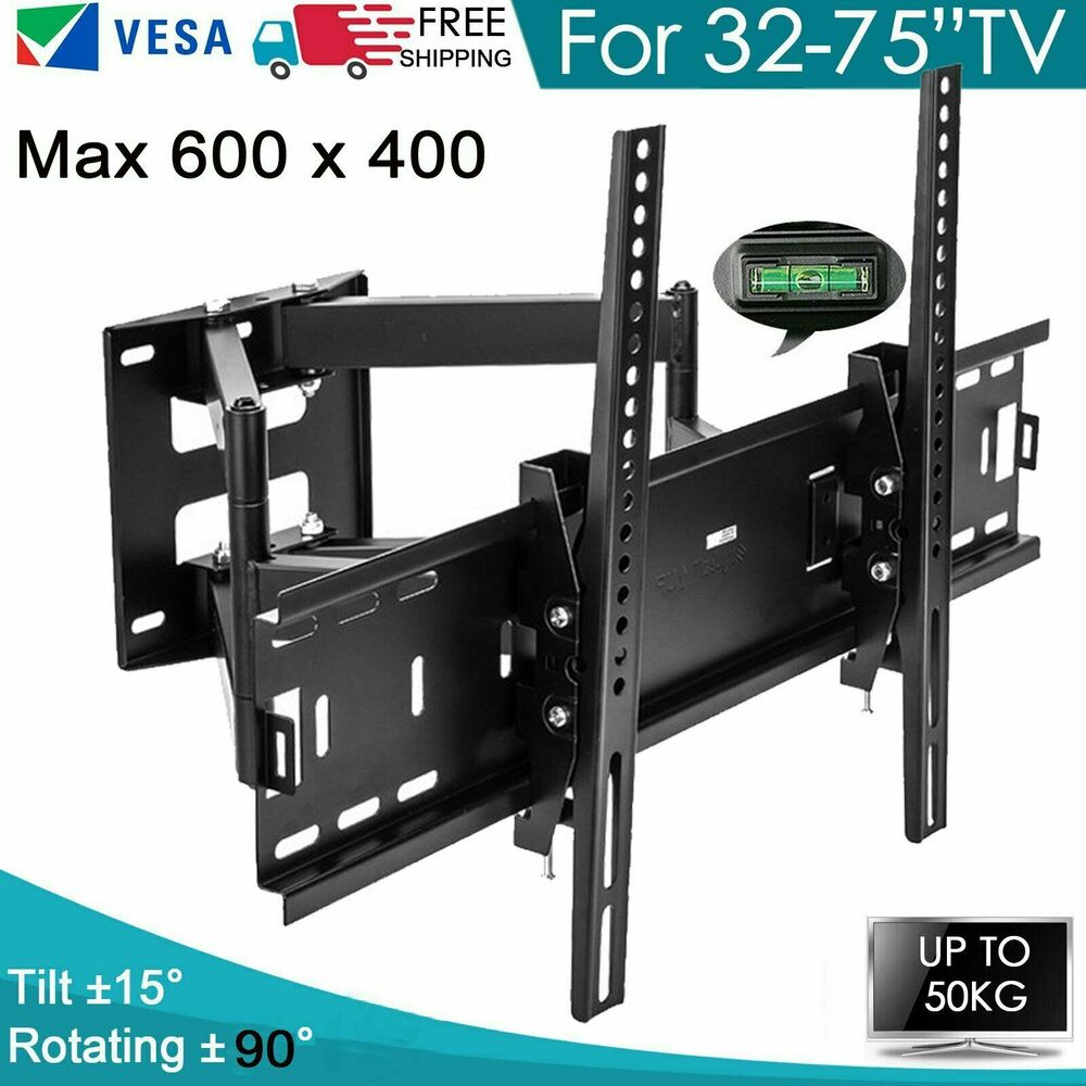 curved full motion swivel tv wall mount 26 32 36 40 42 46 50 52 55 60 65 70 led ebay. Black Bedroom Furniture Sets. Home Design Ideas