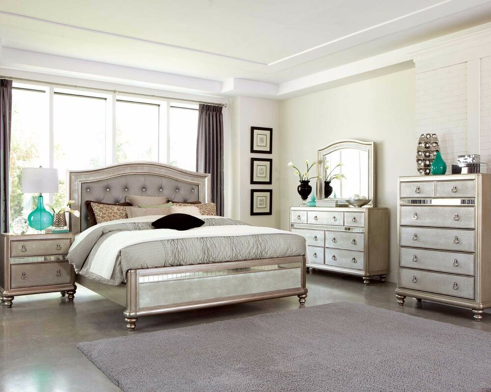 platinum queen mirrored bed n s dresser mirror furniture set ebay
