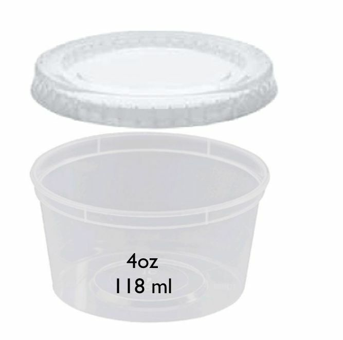 1000 4oz clear plastic round storage food containers with lids deli pots ebay. Black Bedroom Furniture Sets. Home Design Ideas