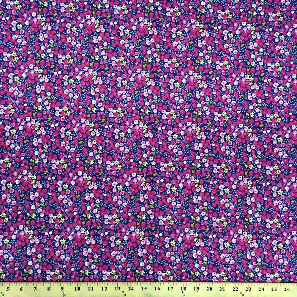 Pamela purple print fabric cotton polyester broadcloth by for Cotton fabric by the yard