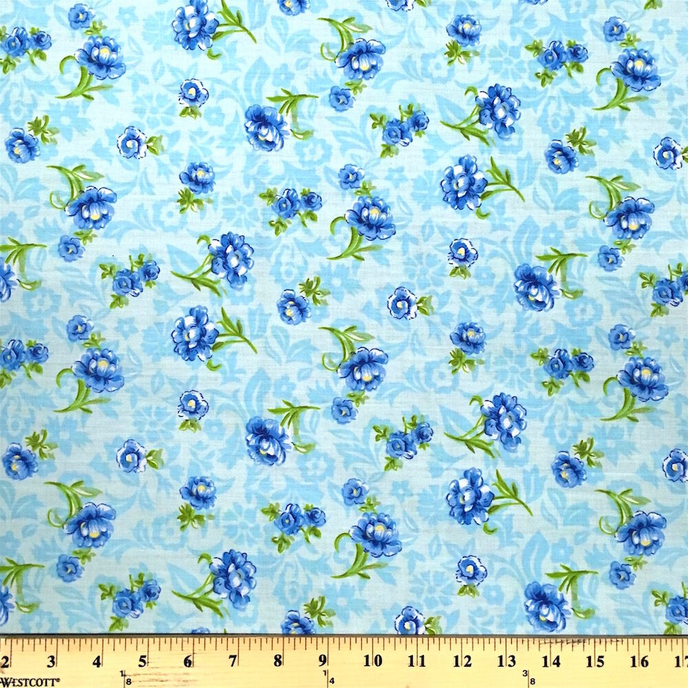 Anna blue print fabric cotton polyester broadcloth by the for Purchase fabric by the yard