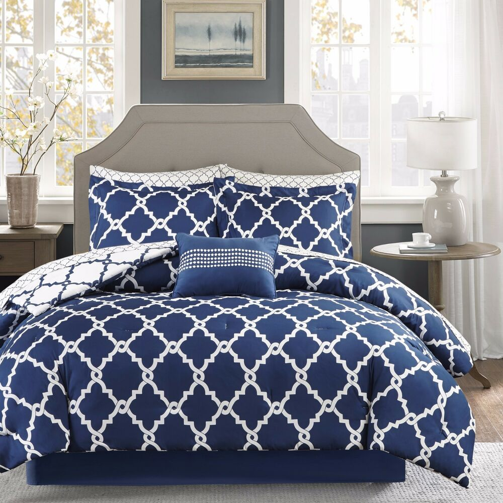 geometric chic design navy white reversible cal king queen 10880 | s l1000