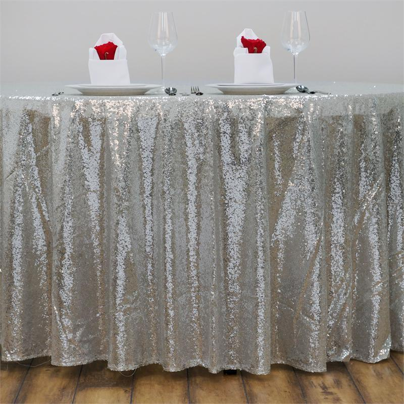 "120"" Silver SEQUIN ROUND TABLECLOTH Wedding Party Catering ..."