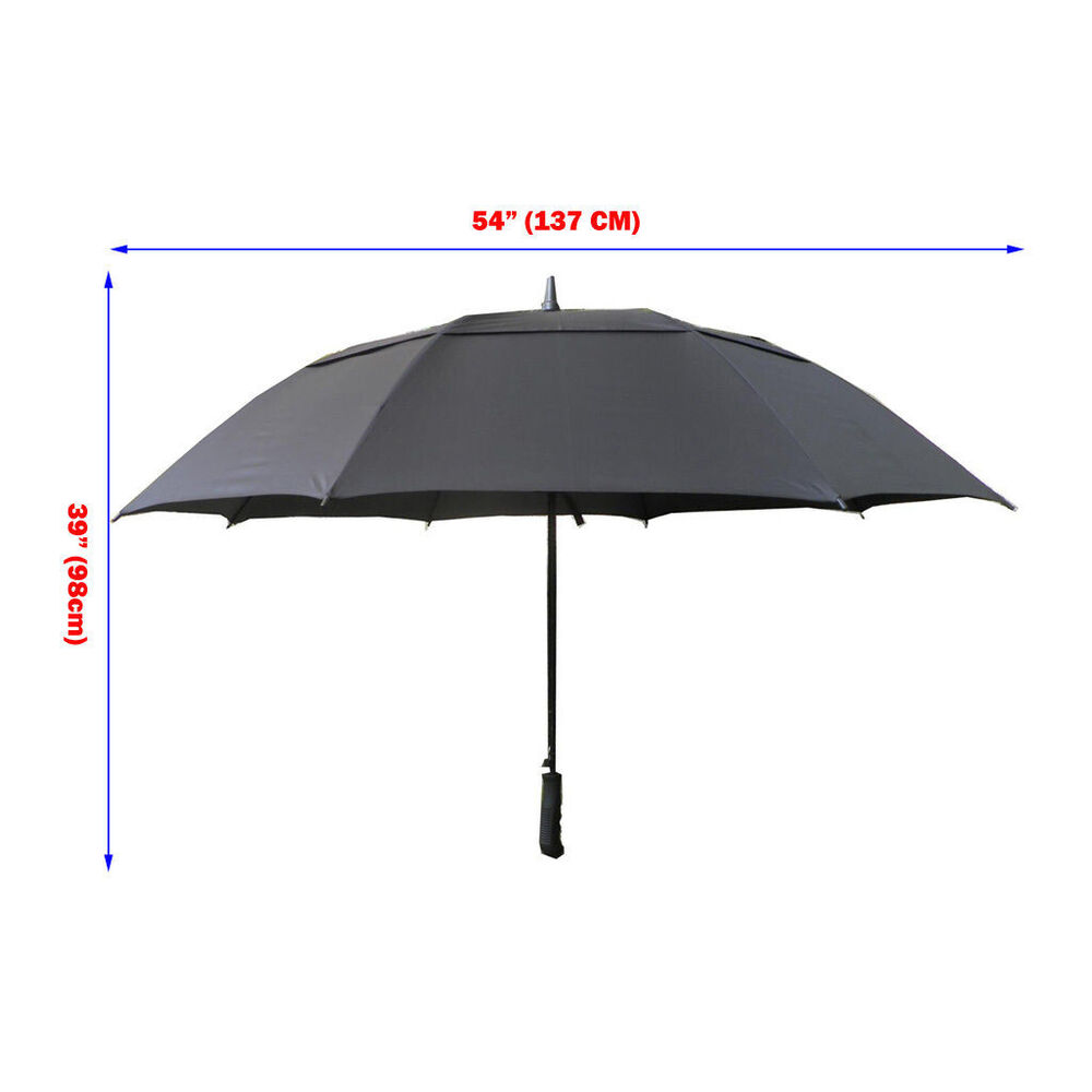 54 137cm double canopy vent windproof black stick golf for Canopy umbrella