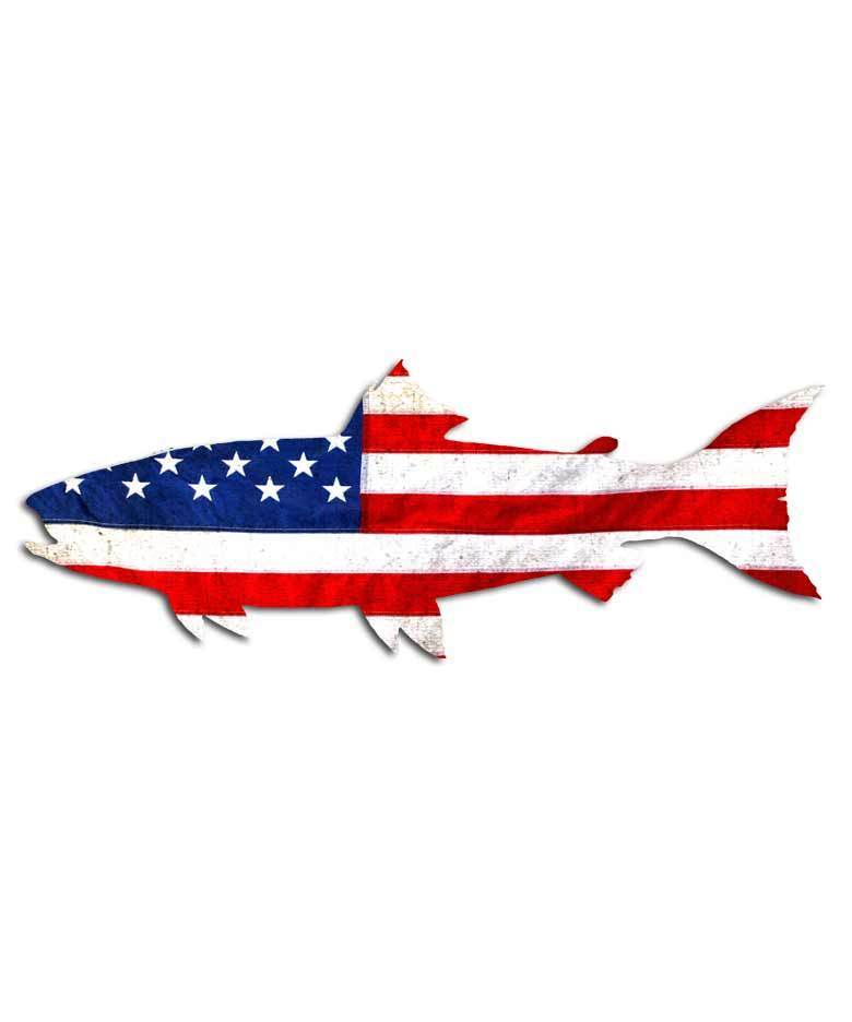 American flag trout fishing sticker salmon fly fisherman for Fly fish usa