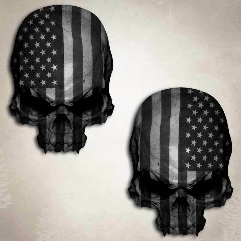 Subdued Flag Skull Decal Sticker American Military