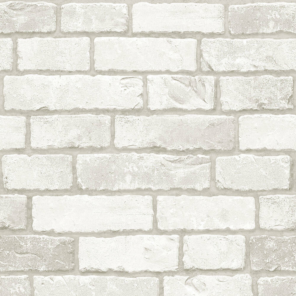 Grey white brick look contact paper prepasted wallcovering for Home wallpaper ebay