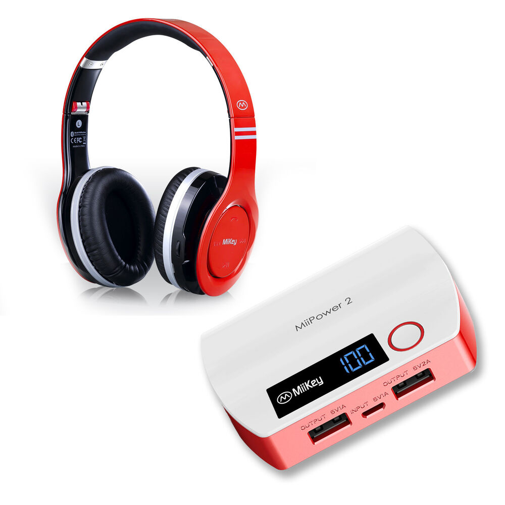 miikey bluetooth wireless stereo headset portable cell phone battery charger ebay. Black Bedroom Furniture Sets. Home Design Ideas