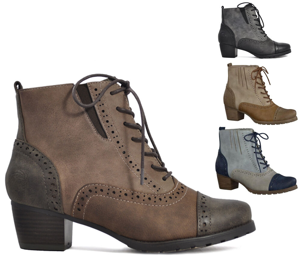 womens mid low heel brogue lace up ankle boots