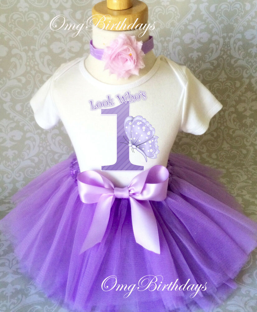 Toddler Tutus Toddler Tutu Outfits Toddler Birthday Tutus: Lavender Purple Butterfly First 1st Baby Birthday Shirt