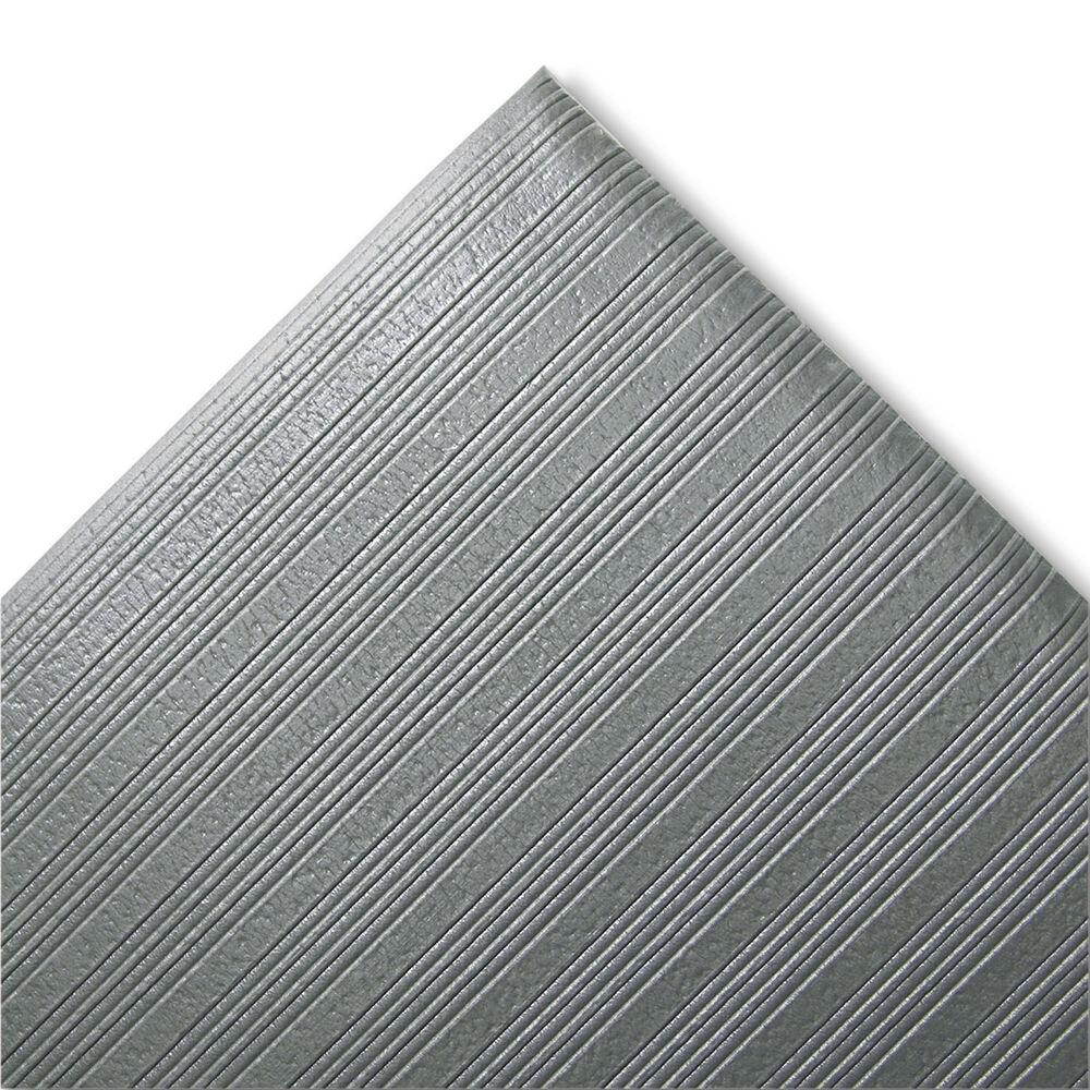 crown ribbed anti fatigue mat vinyl 27 x 36 gray fjs736gy ebay. Black Bedroom Furniture Sets. Home Design Ideas