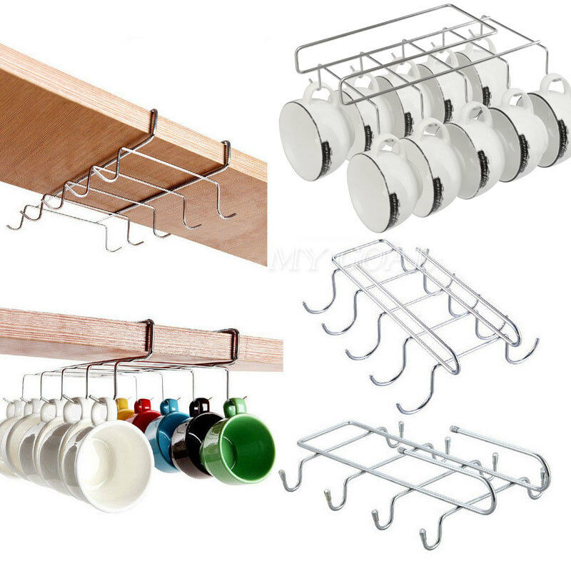 Metal 6 Hook Under Shelf Mug Cup Cupboard Kitchen Organiser Hanging Rack Holder