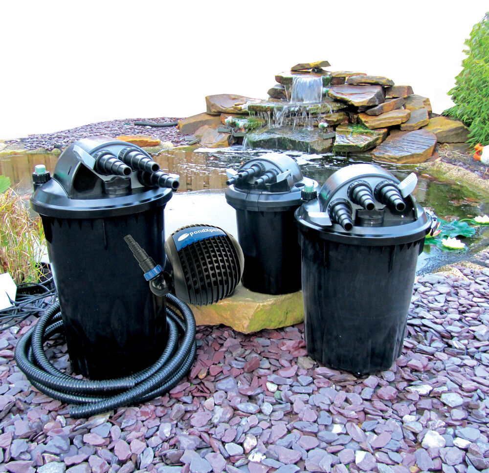 Pond pump pond filter sets complete garden pond system for Outside pond filter