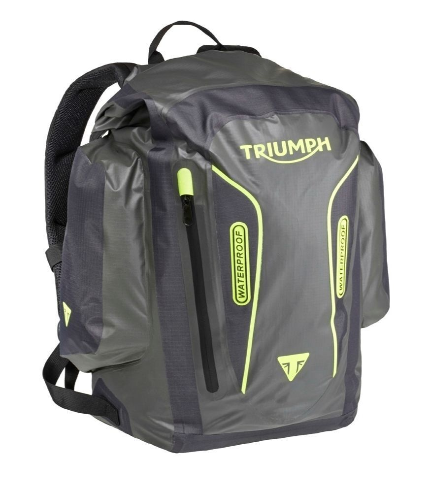 genuine triumph merchandise terrain rucksack backpack 35 litre waterproof ebay. Black Bedroom Furniture Sets. Home Design Ideas