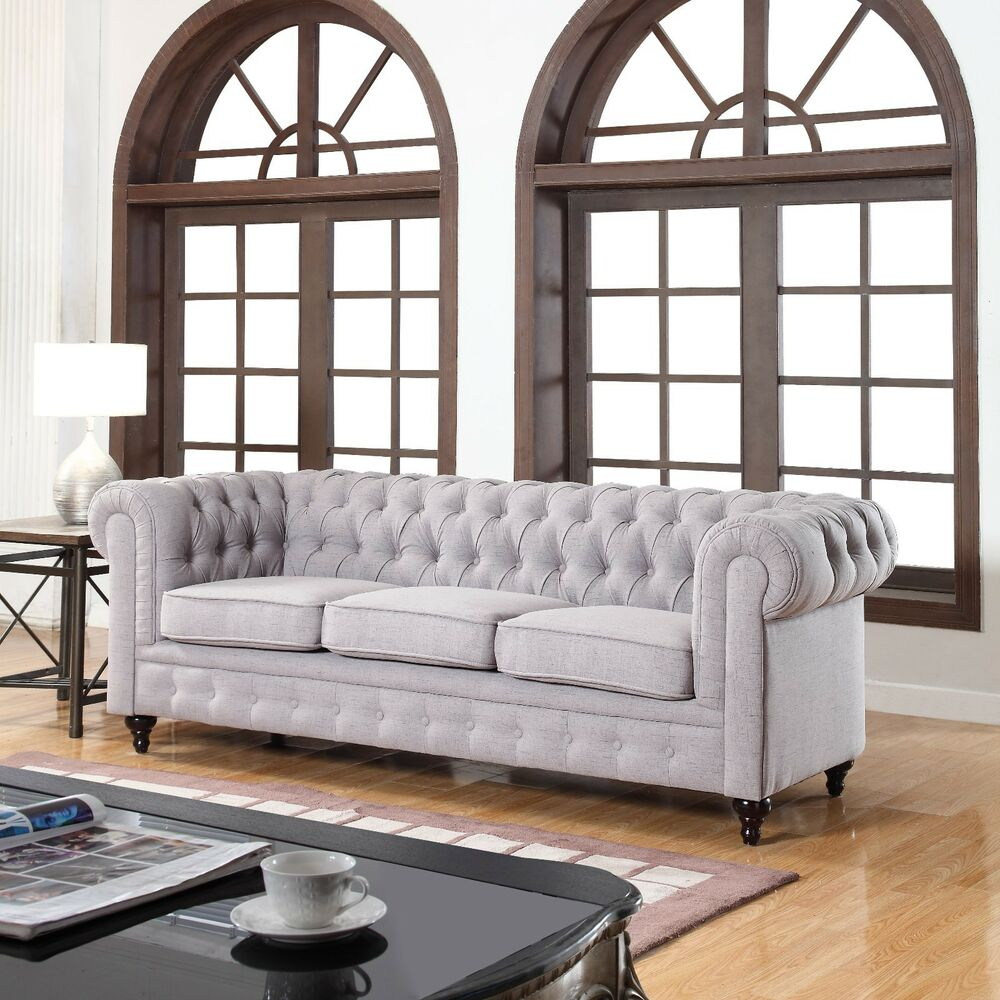 classic linen fabric scroll arm tufted button chesterfield style sofa stone ebay. Black Bedroom Furniture Sets. Home Design Ideas