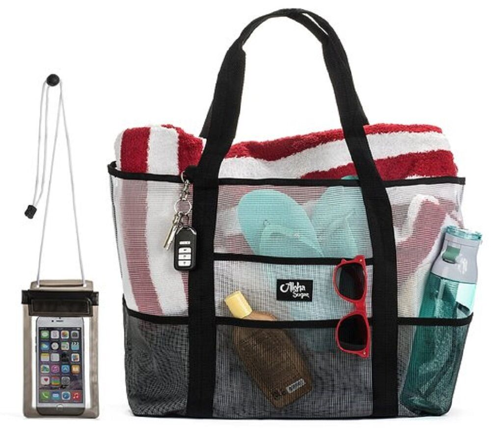 Beach Mesh Tote Bag Pool Extra Large With Pvc Phone Water