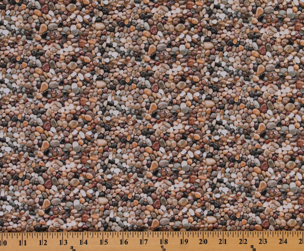 Landscaping multi color rocks stones pebbles cotton fabric for Different color rocks for landscaping