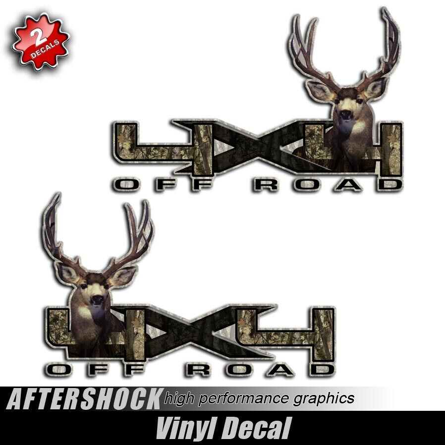 4x4 Mule Deer Sticker Truck Camo Decal Muley Hunting