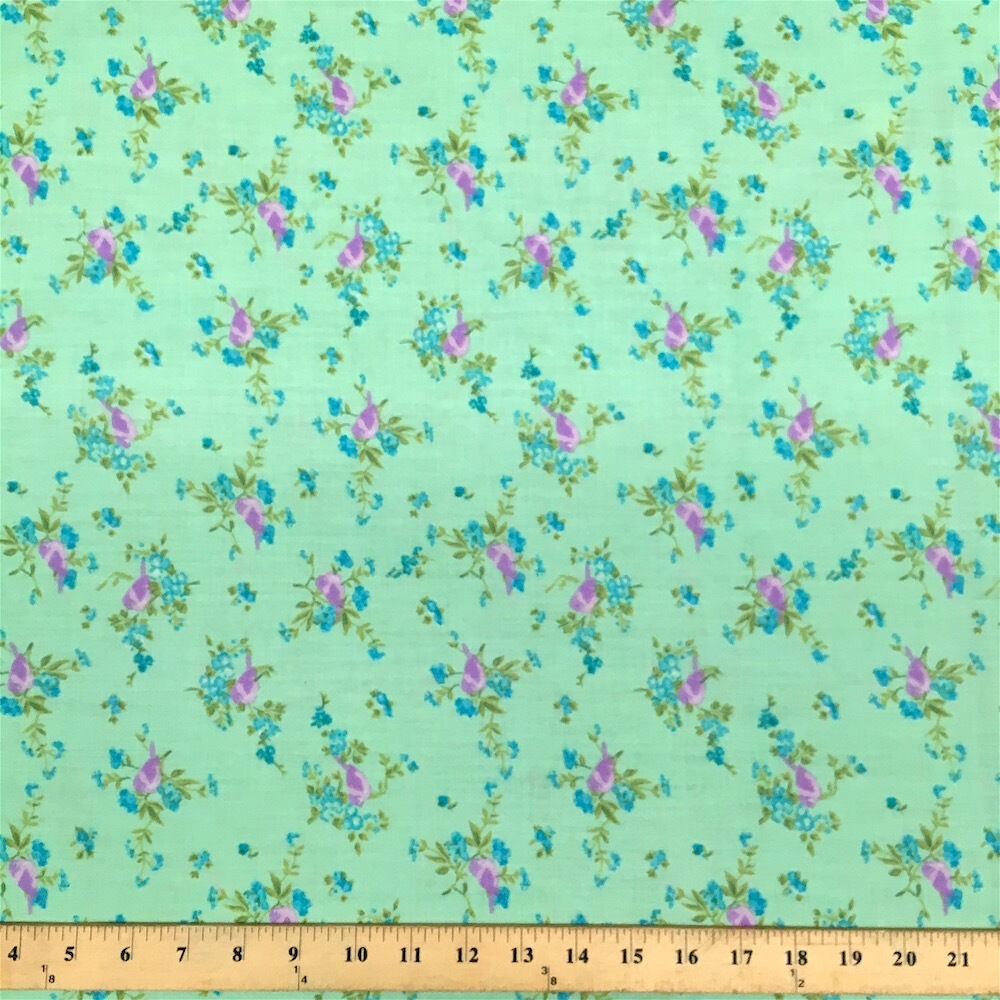 Finch green print fabric cotton polyester broadcloth by for By the yard fabric